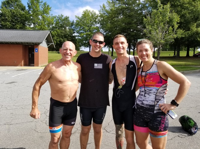 My self and a group of my local tri friends that chased the Hooch